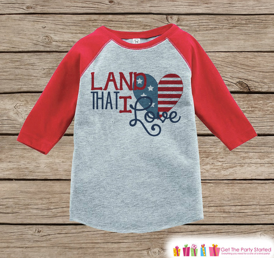 Kids Land That I Love Outfit - 4th of July Onepiece or T-shirt - Red Raglan Shirt, Baseball Tee - American Pride Shirt, Baby, Toddler, Youth - 7 ate 9 Apparel