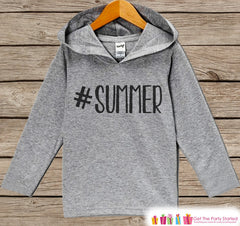 Kids Hashtag Summer Hoodie - Fun Summer Outfit - Children's Pullover - Grey Toddler, Infant Hoodie - Fun Beach Outfit Baby, Toddler, Youth - 7 ate 9 Apparel