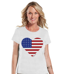 Women's 4th of July Shirt - American Heart Shirt - Fourth of July T Shirt - 'Merica White tee - Fourth of July Outfit - Funny 4th of July