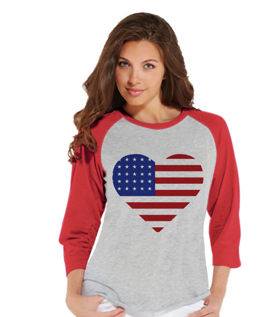 Women's 4th of July Shirt - American Heart Shirt - Red Raglan Shirt - Women's Baseball Tee - Fourth of July Shirt - American Pride Outift