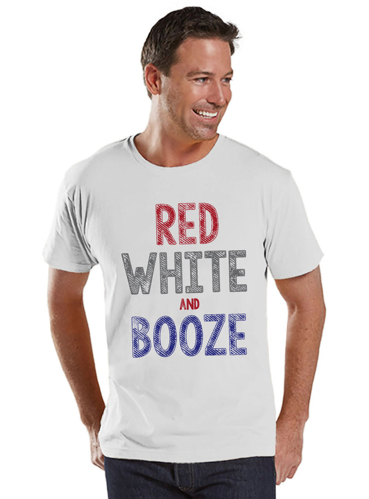 Men's 4th of July Shirt - Red White & Booze Shirt - Men's White T-Shirt - Men's White Tee - Funny Fourth of July Shirt - USA Pride TShirt - 7 ate 9 Apparel