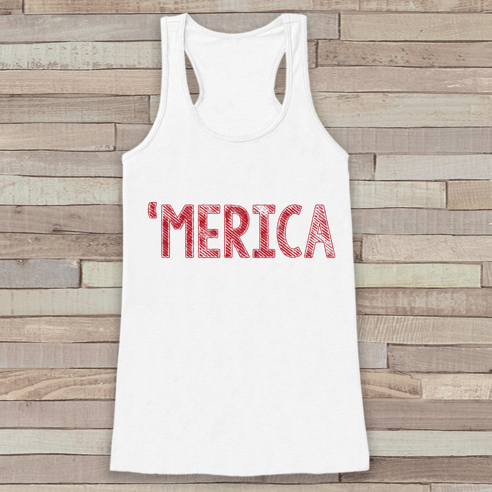 Women/'s Tank Top 4th of July Tank MERICA Fourth of July 4th of July Shirt