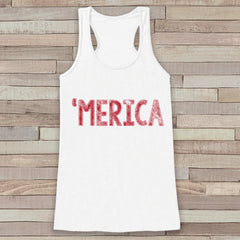 Merica Tank Top - 'Merica Fourth of July Tank - Women's 4th of July Outfit - White Flowy Tank - Fourth of July Shirt - American Pride Top - 7 ate 9 Apparel