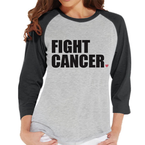 Women's Fight Cancer Shirt - Cancer Awareness Shirt - Grey Raglan Shirt - Women's Baseball Tee - Cancer Support Top - Running Race Shirt - 7 ate 9 Apparel