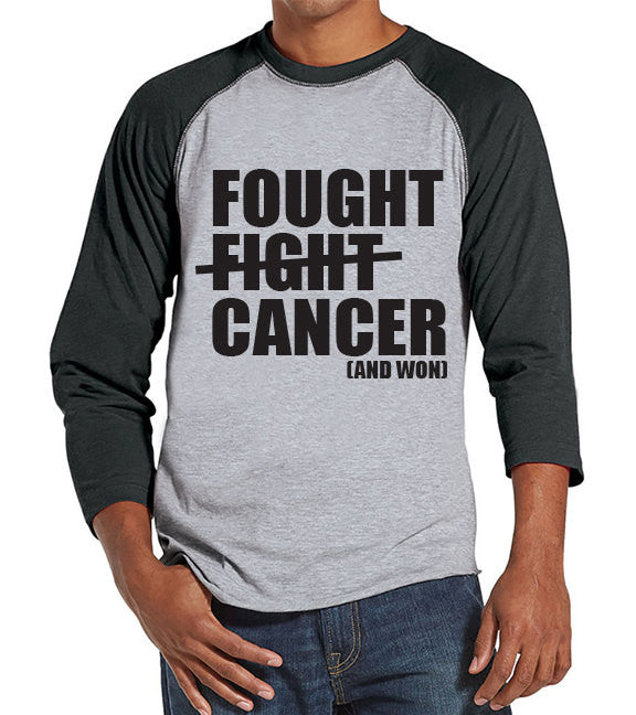 Men's Fought Cancer Shirt - Team Race Shirts - Cancer Awareness - Grey Raglan Shirt - Men's Grey Baseball Tee - Cancer Support Running Shirt - 7 ate 9 Apparel