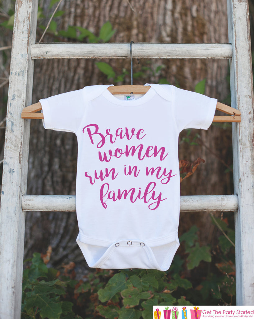 Kid's Cancer Awareness Outfit - Brave Women Run In My Family Onepiece or Tshirt - Race Team Outfit - Fight Cancer Shirt for Babies, Toddlers - 7 ate 9 Apparel
