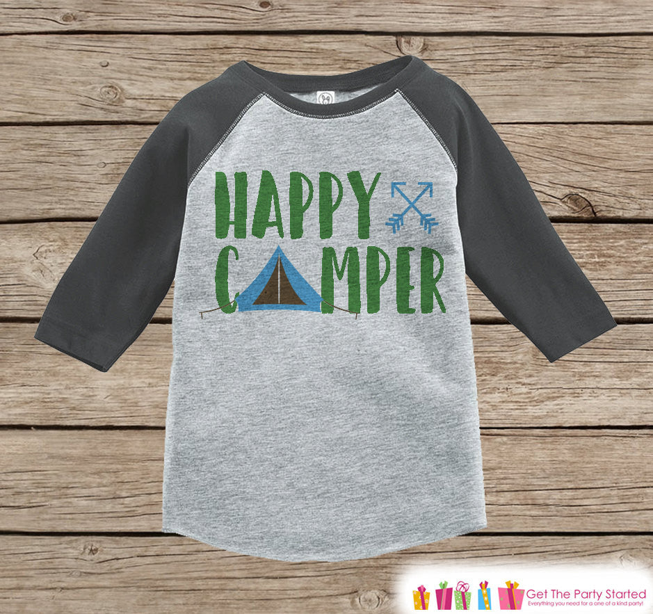 Kid's Happy Camper Outfit - Grey Raglan Shirt, Onepiece - Kids Baseball Tee - Camp Tent Shirt for Baby, Toddler, Youth - Adventure Clothing - 7 ate 9 Apparel