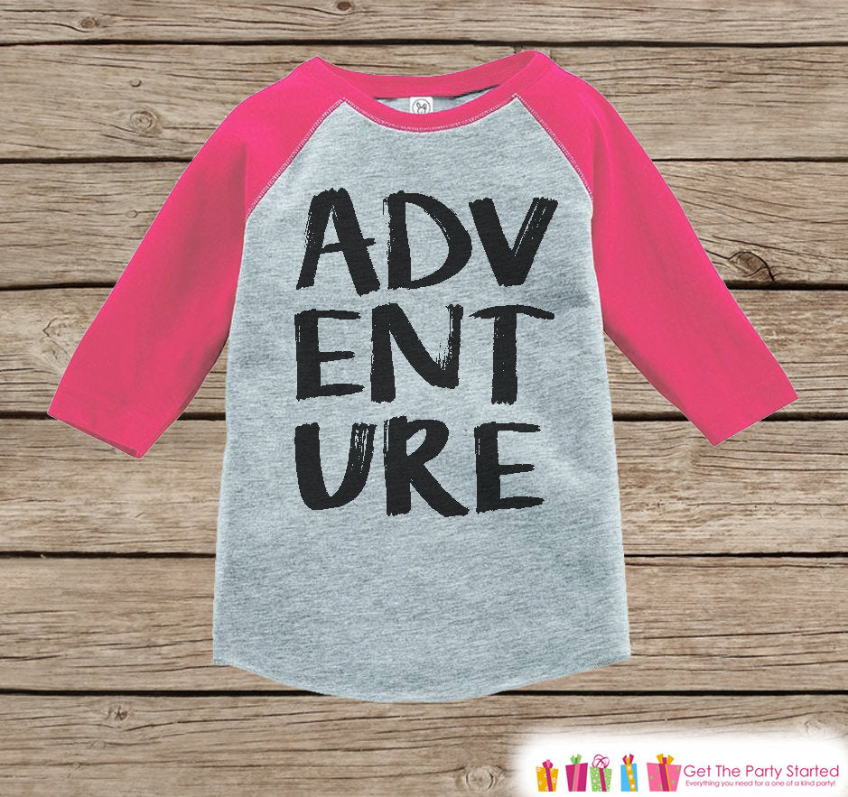 Girl's Adventure Outfit - Pink Raglan Shirt or Onepiece - Camping Shirt - Camp Shirt for Baby, Toddler, or Youth - Explore Clothing