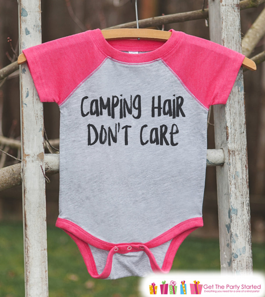 Girl's Camping Outfit - Camping Hair Don't Care - Pink Raglan Shirt, Onepiece - Camp Shirt for Baby, Toddler, or Youth - Adventure Clothing