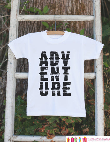 Kid's Adventure Outfit - White Shirt or Onepiece - Camping T-Shirt - Camp T Shirt for Baby, Toddler, or Youth - Adventure Clothing - 7 ate 9 Apparel