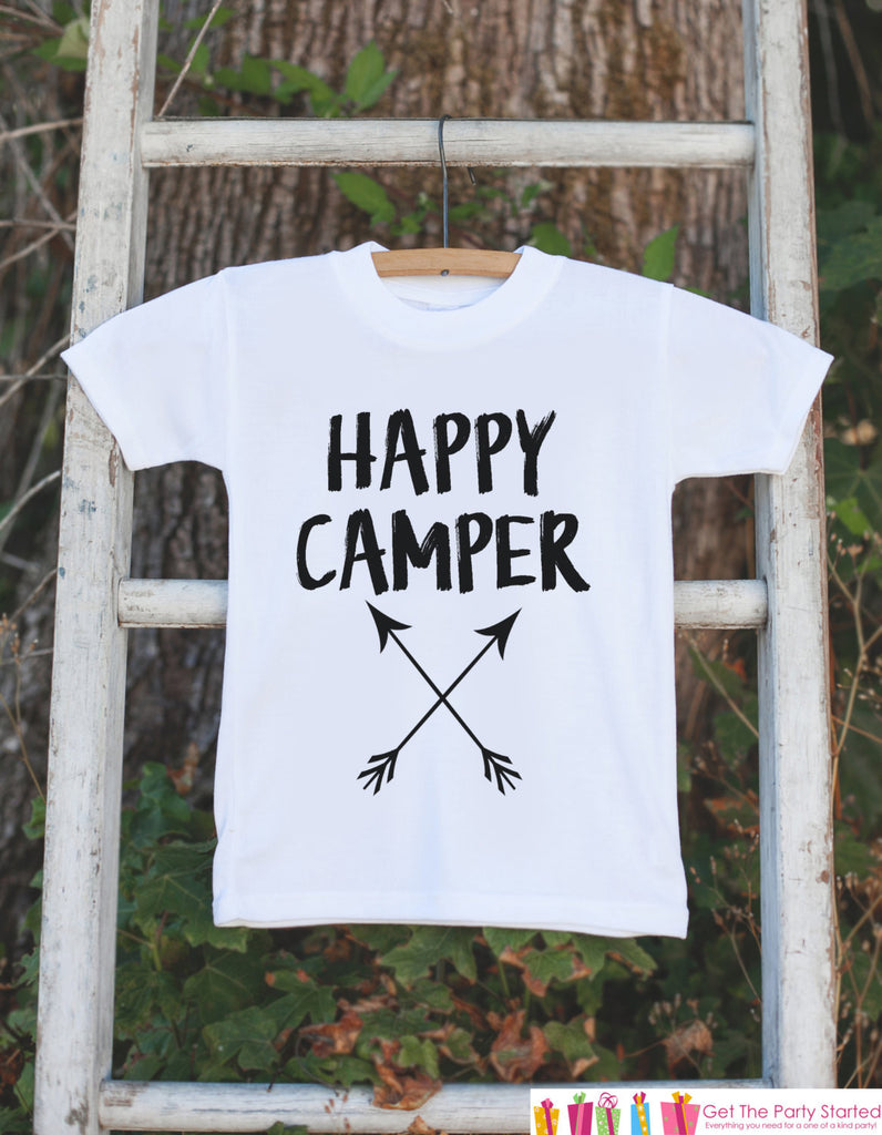 Kid's Happy Camper Outfit - White Shirt or Onepiece - Camping Arrow T-Shirt - Camp T Shirt for Baby, Toddler, or Youth - Adventure Clothing - 7 ate 9 Apparel