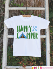 Kid's Happy Camper Outfit - White Shirt or Onepiece - Camping Tent T-Shirt - Camp T Shirt for Baby, Toddler, or Youth - Adventure Clothing - 7 ate 9 Apparel