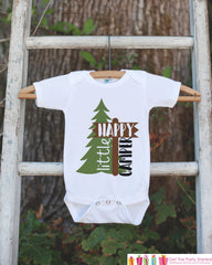Kid's Happy Camper Outfit - White Shirt or Onepiece - Camping Tree T-Shirt - Camp T Shirt for Baby, Toddler, or Youth - Adventure Clothing