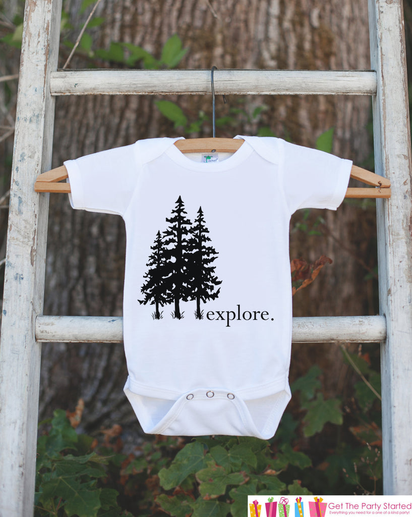 Kid's Explore Outfit - White Shirt or Onepiece - Tree Hugger T-Shirt - Camping T Shirt for Baby, Toddler, or Youth - Adventure Clothing