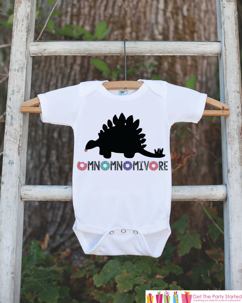 Kid's Dinosaur Shirt - Donut Hungry Stegosaurus - White Shirt or Onepiece - Funny Shirt Baby, Toddler, Youth - Dinosaur Lover Gift Idea