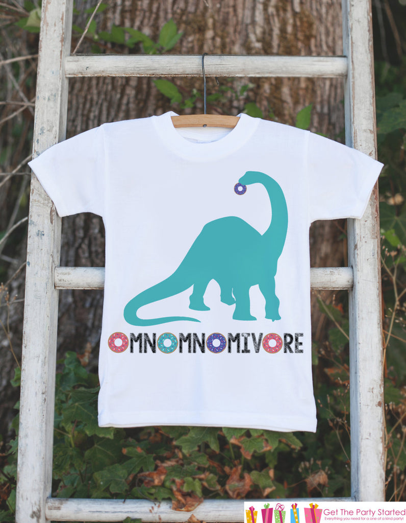 Kid's Dinosaur Shirt - Donut Hungry Long Sleeve Neck Dino - White Shirt or Onepiece - Funny Shirt Baby, Toddler, Youth - Dinosaur Lover Gift Idea
