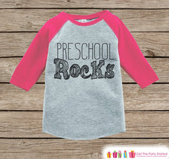 Girls Preschool Rocks Tee - Pink Back to School Outfit - Girls Pink Raglan Preschool Rocks Tshirt - Kids Preschool Shirt - Toddler Pink Top - 7 ate 9 Apparel