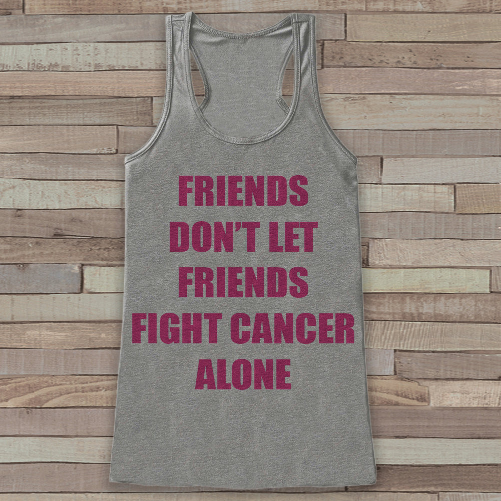 Women's Friends Fight Cancer Tank - Cancer Awareness Tank - Grey Tank Top - Grey Racerback Tank Top - Running Race Team Tanks - Fight Cancer - 7 ate 9 Apparel