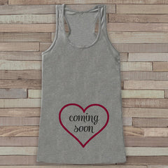 Pregnancy Announcement Tank - Pregnancy Shirt - Baby Girl Coming Soon Tank - Grey Tank Top - Pregnancy Announcement Shirt - New Mom