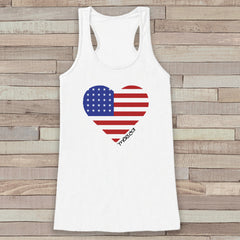 American Heart Tank Top - Women's 'Merica 4th of July Tank - White Flowy Tank - Fourth of July Shirt - American Pride Top - 4th of July