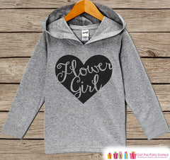 Girls Flower Girl Top - Kids Wedding Outfit - Black Heart Flower Girl Hoodie - Children's Flower Girl Pullover - Wedding Flower Girl Gift - 7 ate 9 Apparel