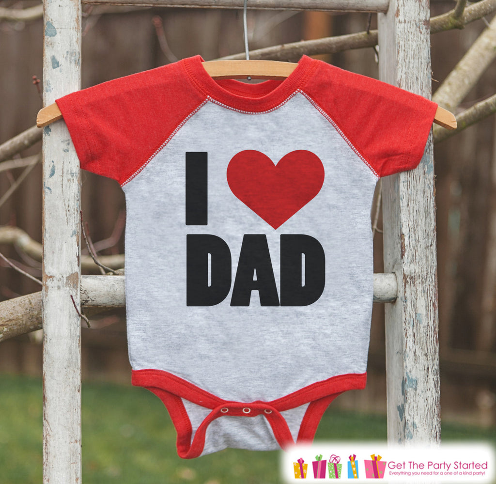 Kids Father's Day Outfit - Red Raglan Shirt - I Heart Dad - Happy Fathers Day Gift, Baby Boys Love Dad Onepiece or Shirt - Toddler, Infant