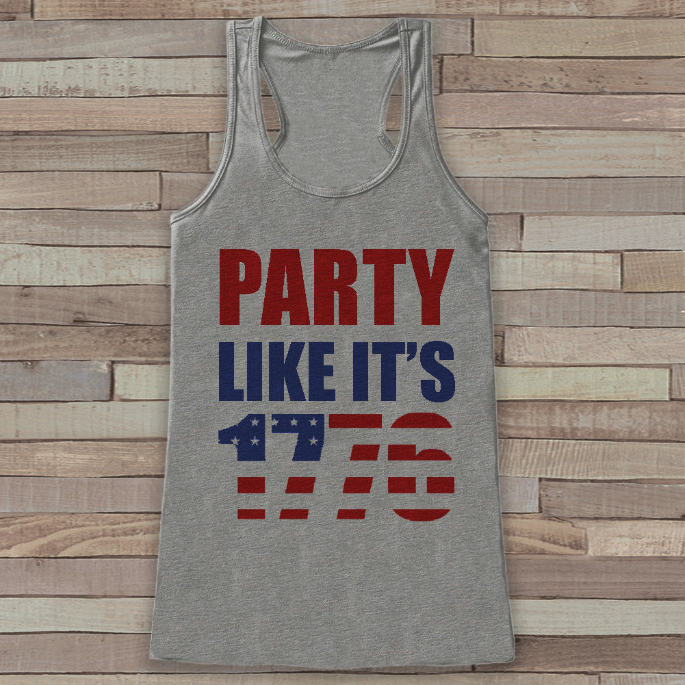 Party Like It's 1776 Tank Top - Women's 4th of July Tank - Grey Flowy Tank - Funny Fourth of July Shirt - American Pride Top - 4th of July - 7 ate 9 Apparel