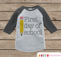 Boys My First Day of School Outfit - Kids 1st Day of School Shirt - Boy Grey Raglan Tee - 1st Day of School Outfit - Back to School Shirt