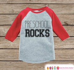 Boys School Tshirt - Preschool Rocks Tee - Kids Red Raglan Preschool Rocks Outfit - Kids Preschool Shirt - Grey Back To School Top - Pre-K