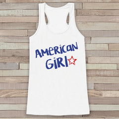 Patriotic American Girl Tank - Women's 4th of July Tank - White Flowy Tank - Country Fourth of July Shirt - 4th of July USA Pride - 7 ate 9 Apparel