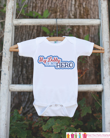 Boys Daddy Is My Hero Outfit - Happy Fathers's Day Onepiece or Tshirt - Youth, Toddler, Kids, Baby Shower Gift Idea - Military, Patriotic - 7 ate 9 Apparel