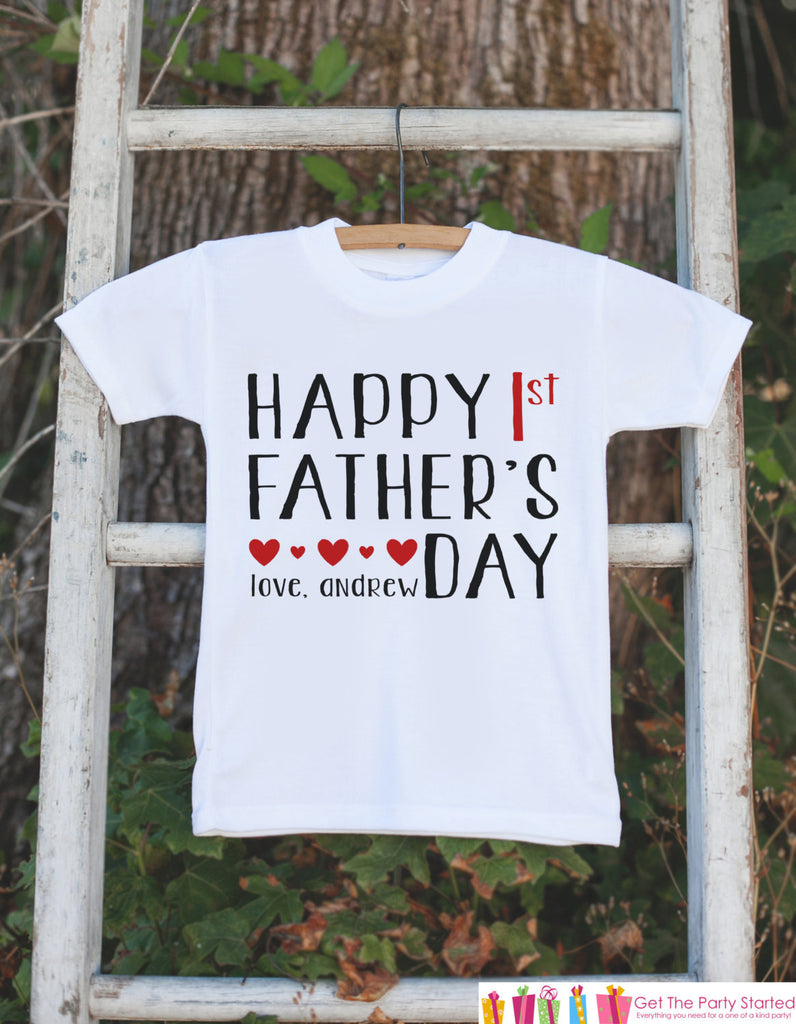 Kids Father's Day Outfit - Happy 1st Fathers Day Onepiece or Tshirt - Baby Girl or Boy, Toddler, Infant, Newborn, Kids Fathers Day Gift Idea - 7 ate 9 Apparel