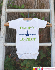 C-17 Plane Bodysuit - Daddy's Co-Pilot Bodysuit Makes a Great Baby Shower Gift - Air Force Airplane Onepiece Outfit - Baby Boy Outfit