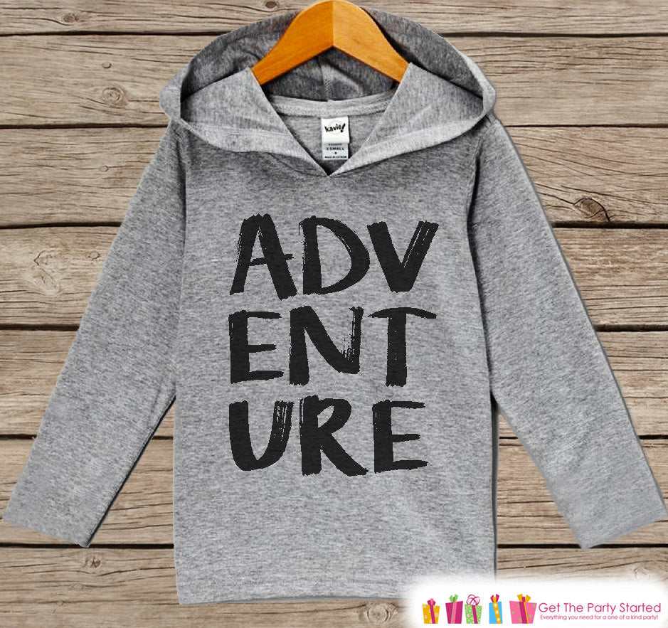 Kids Hoodie - Outdoor Adventure Outfit - Children's Pullover - Grey Toddler, Infant Hoodie - Camping, Hiking, Nature, Outdoor Aventure Shirt