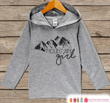 Camping Shirt - Mountain Girl Hoodie - Hiking, Nature, Outdoor Aventure, Camp Shirt - Girls Grey Pullover - Toddler, Infant, Kids Hoodie