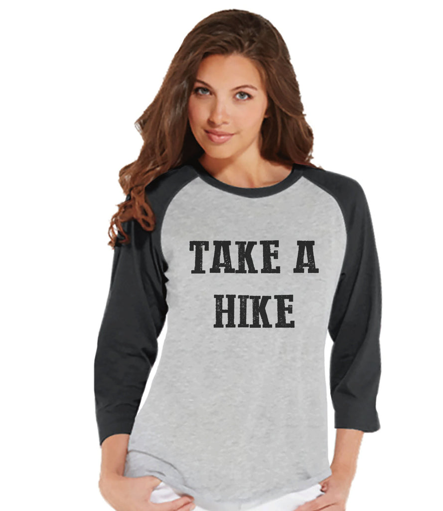 Camping Shirt - Take a Hike T-shirt - Womens Grey Raglan Top - Ladies Camping, Hiking, Outdoors, Mountain, Nature Shirt - Funny Adult Tee - 7 ate 9 Apparel