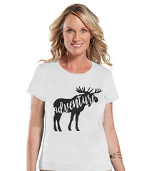 Camping Shirt - Adventure Shirt - Womens White T-shirt - Ladies Camping, Hiking, Outdoors, Mountain, Nature Tee - Funny Humorous Tshirt
