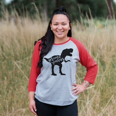 7 ate 9 Apparel Womens Mamasaurus Red Raglan Shirt