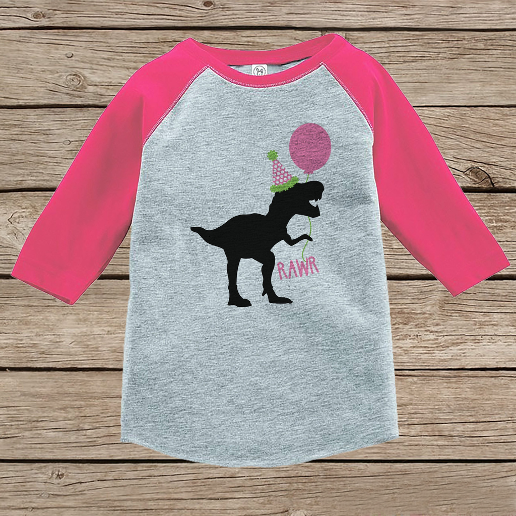 Rawr Dinosaur with Party Hat - Birthday Girl Shirt or Onepiece