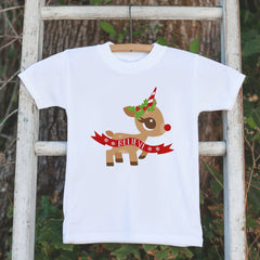 Kids Unicorn Reindeer Christmas Tshirt