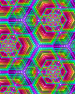 Vibrant Prismatic Bliss defines Tetramodes Hexafun Pattern