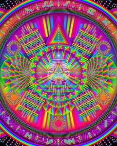 Rainbow Geometric Psychedelic Art of Mexican Imagery ideal for Hippies