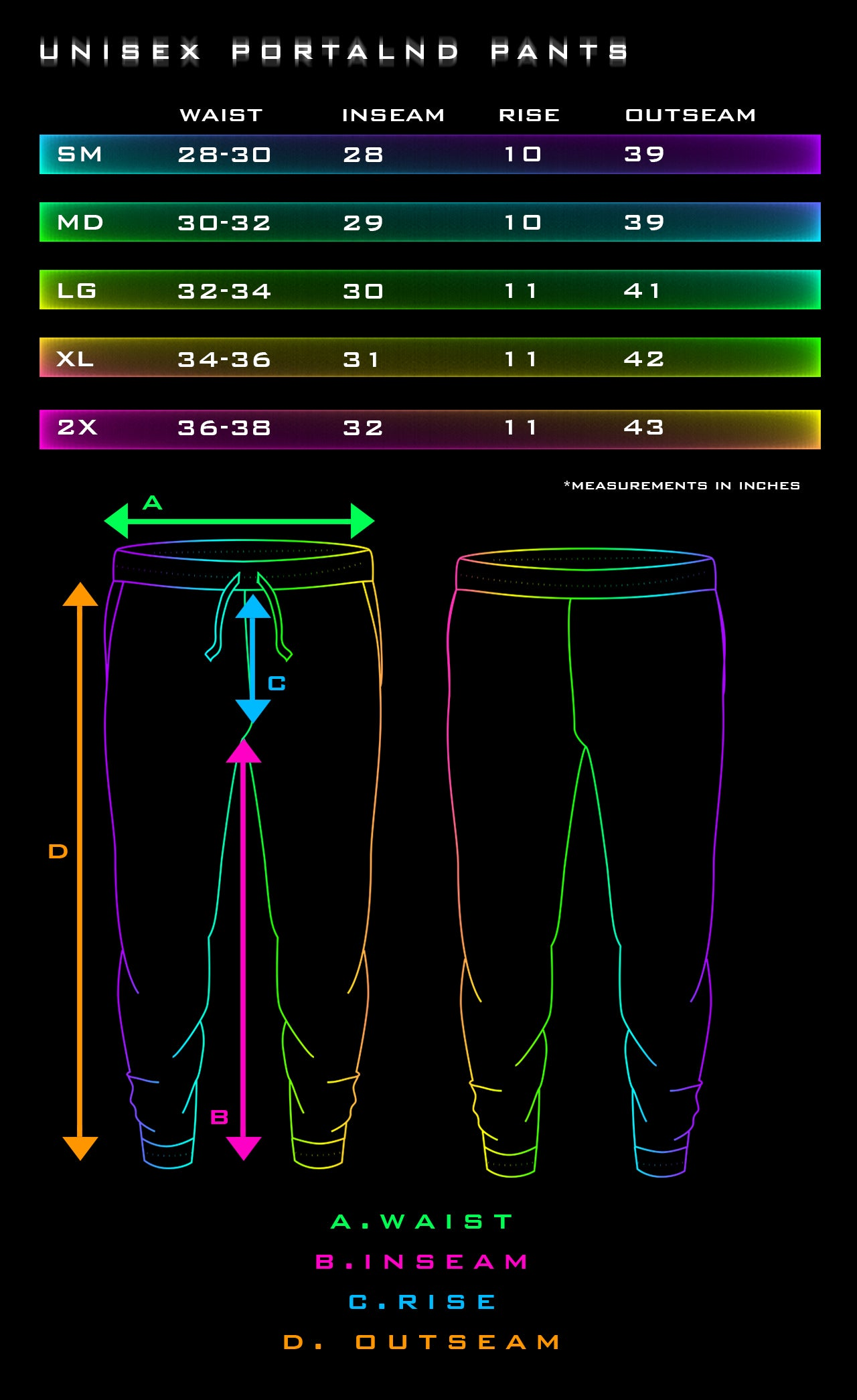 Jogger Size Chart by Tetramode Psychedelic Fashion