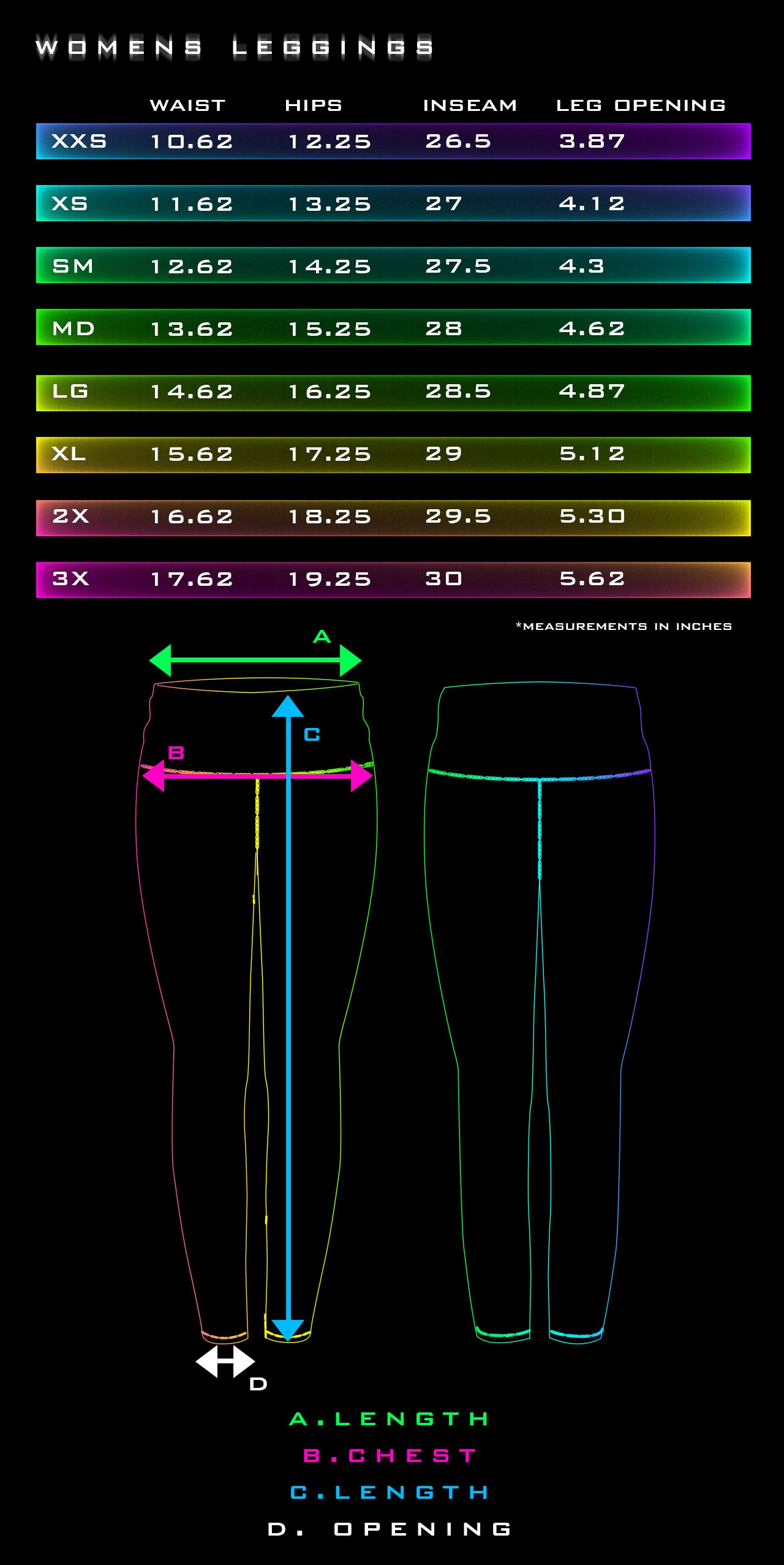 Leggings Size Chart - Tetramode Psychedelic Fashion