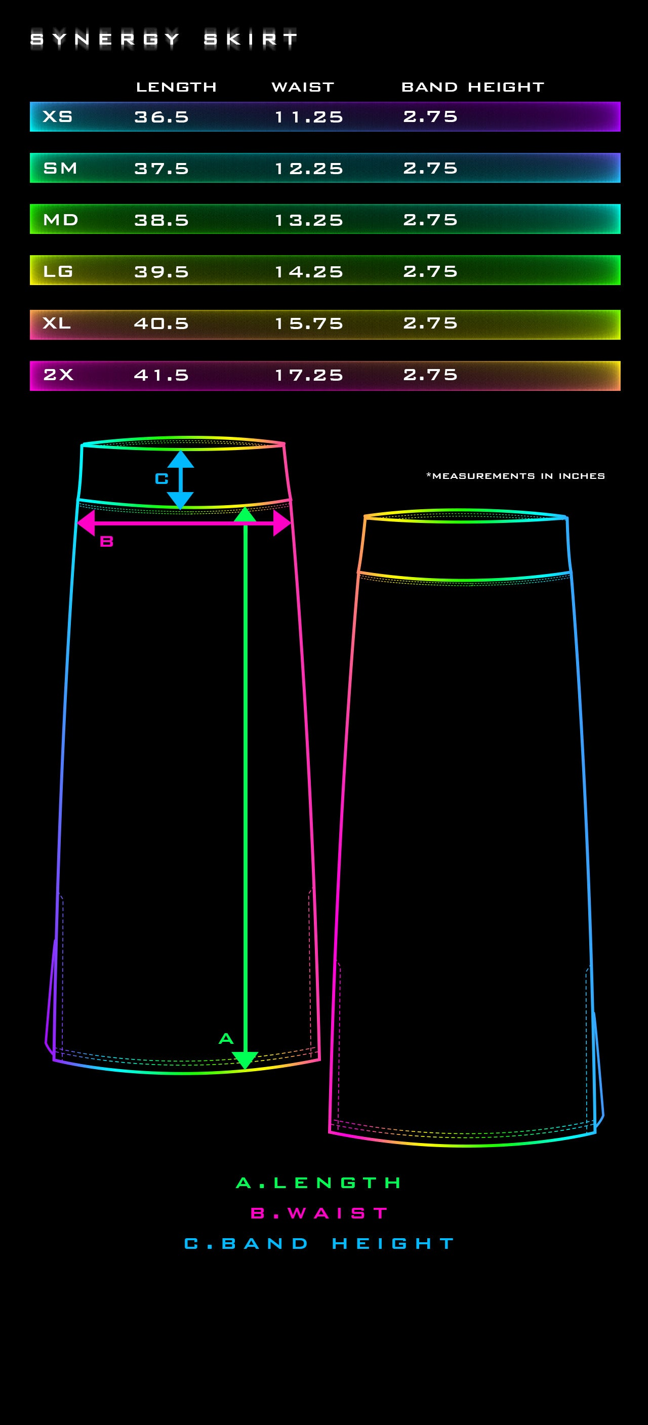 Synergy Skirt Size Chart - Tetramode Psychedelic Fashion