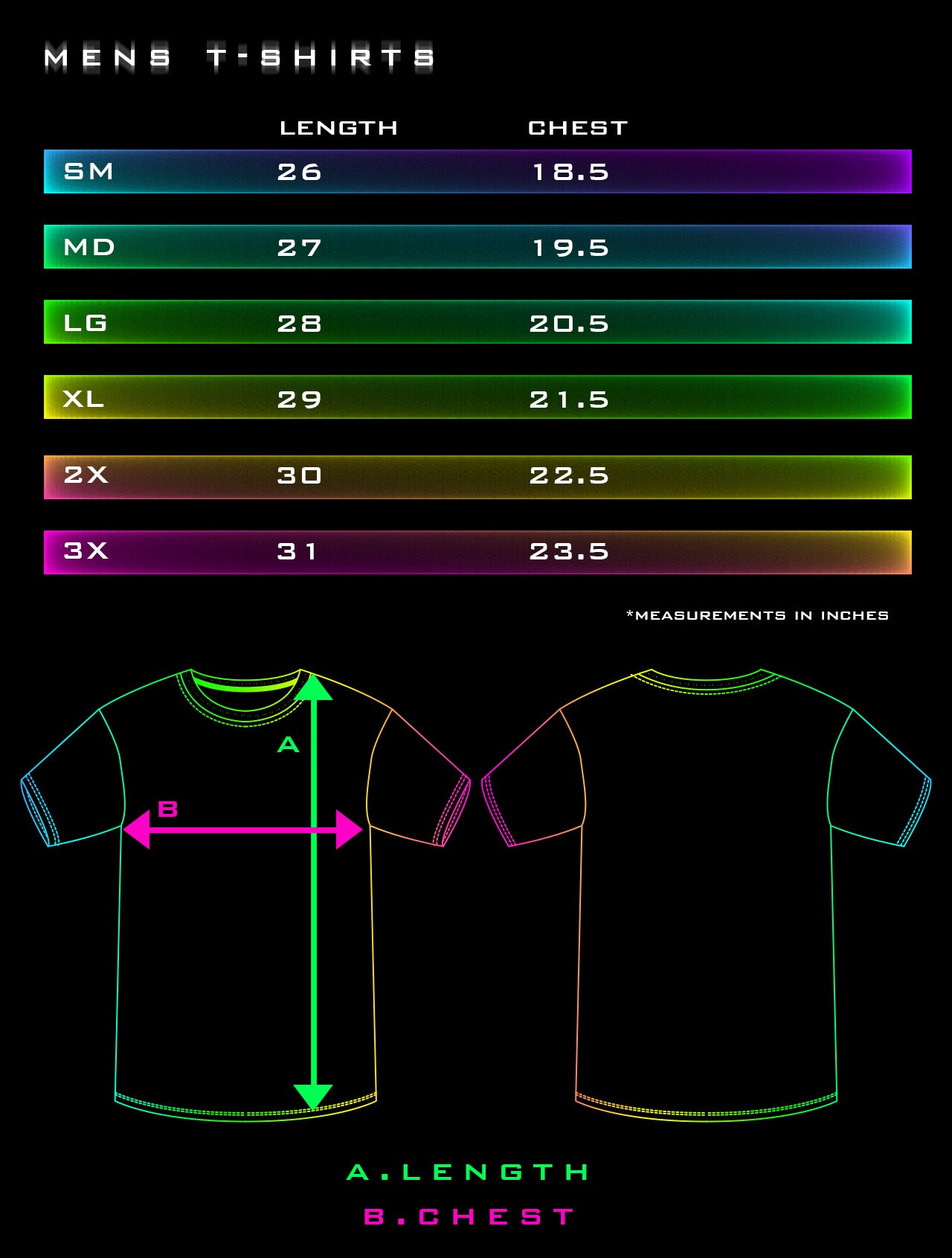 Men's T-Shirt Size Charts