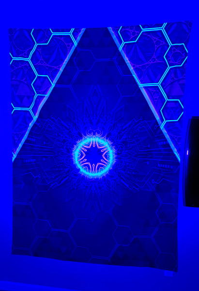 Artificial Intelligence Psychedelic UV-Active Neon Tapestry (60x80in)