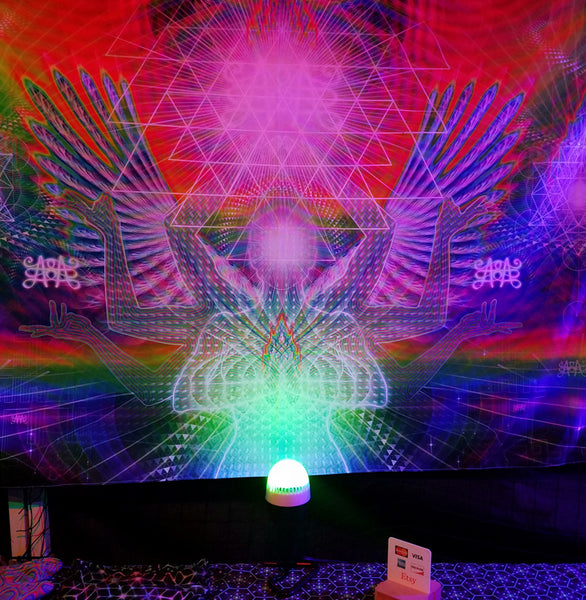 Seat of the Soul Psychedelic UV-Reactive Tapestry (60x50in)