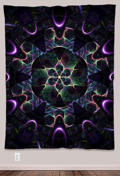 Chrysanthemum Portal Psychedelic UV-Active Neon Tapestry (60x80in)