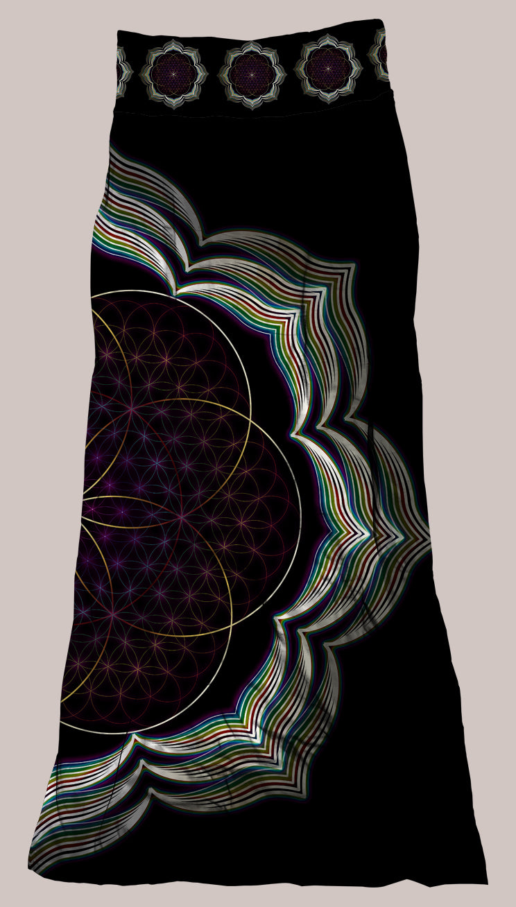 Psychedelic Black Lotus Flower of Life Breathable & Flowy Celestial Bloom Synergy Skirt
